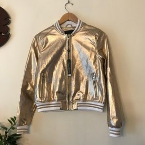 BLANK NYC  Gold & White Bomber Jacket Size Small